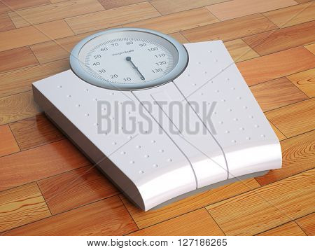Scales on the wooden floor. Weight control. 3d illustration