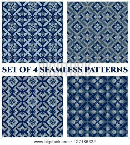 Collection of 4 abstract stylish decorative seamless patterns with geometric ornament of blue teal and grey shades