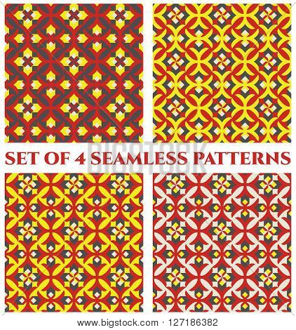 Collection of 4 abstract glorious decorative seamless patterns with colorful geometric ornament