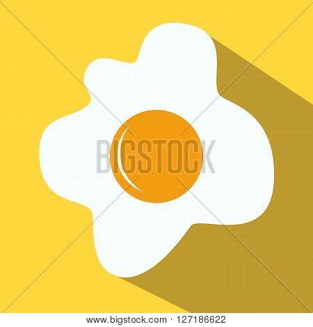 Fried eggs fried eggs colored icon on a yellow background.
