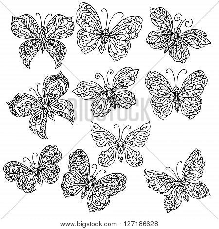 Set of Uncolored ornate butterfly for adult coloring book in famous zenart style.