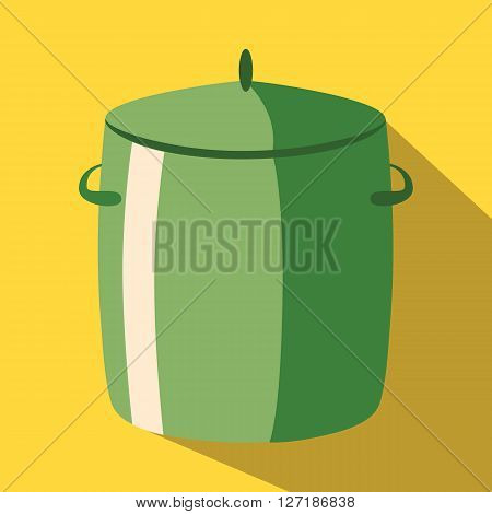 Saucepan pan colored icon on a yellow background.
