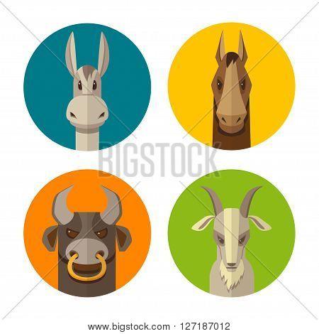 Farm animals donkey horse bull goat flat design icon vector set