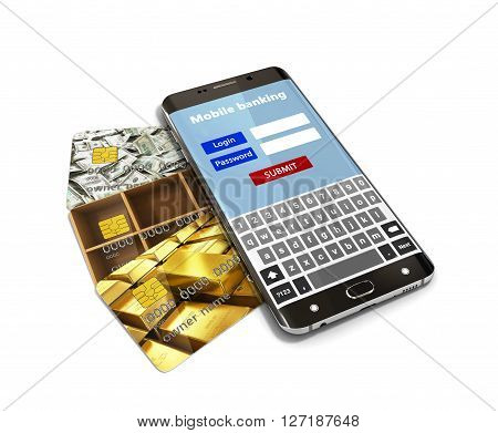 Concept Of Mobile Banking, With A White Screen Smartphone Lying On The Bank Credit Cards 3D Render