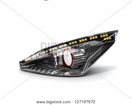 Headlamp Car Isolated On White Background 3D Render
