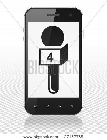 News concept: Smartphone with black Microphone icon on display, 3D rendering