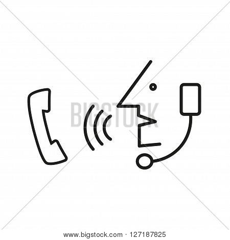 Operator in headset speak to handset phone. Simple icon. eps10