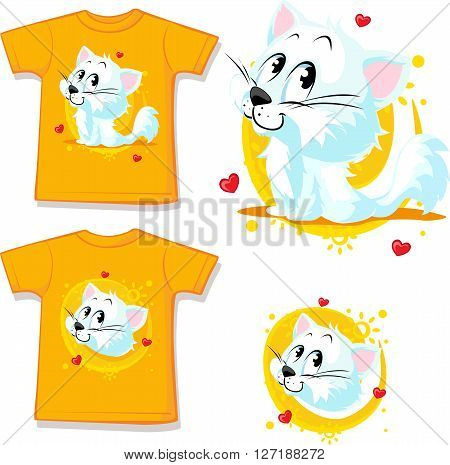 shirt with cute white cat - vector illustration