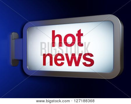 News concept: Hot News on advertising billboard background, 3D rendering