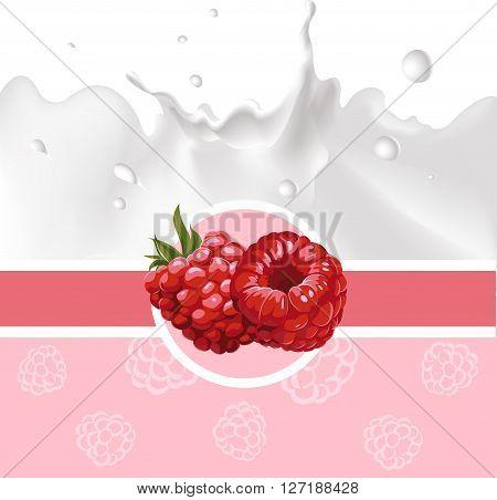 pink design with raspberry and milk splash - vector illustration