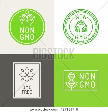 Non Gmo  Natural Ingridients Labels And Emblems