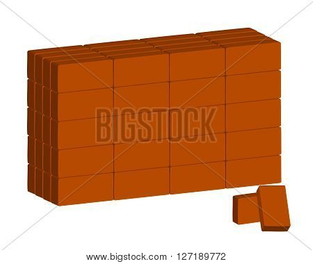 The brickwork of ordinary red bricks on white background.  Vector.  Horizontal.