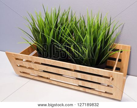 Artificial Plants or Artificial Grass in A Wooden Container for Home and Office Decoration without The Care.