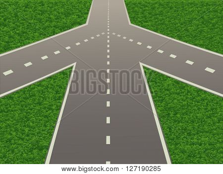 Illustration of road junction on the highway. Vector illustration. Horizontal.