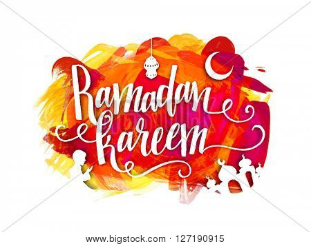 Stylish text Ramadan Kareem with different Islamic elements on colourful abstract background for Holy Month of Muslim Community Festival celebration.