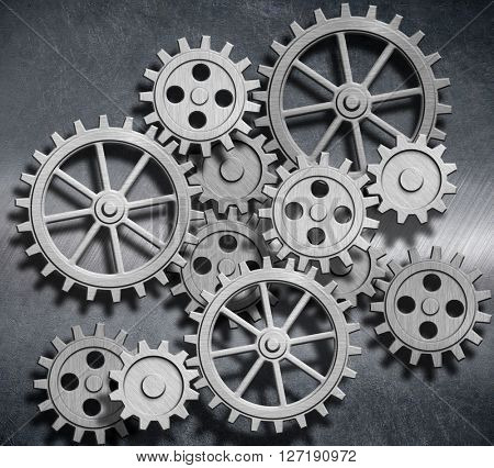 metal background with gears and cogs 3d illustration