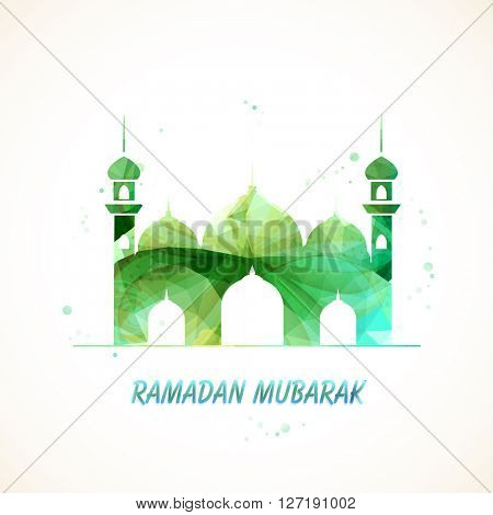 Creative green Mosque for Islamic Holy Month of Fasting and Prayers, Ramadan Mubarak celebration.