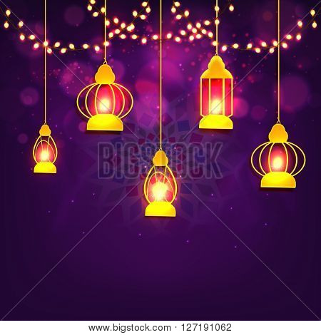 Traditional illuminated Lamps hanging on shiny lights and floral design decorated purple background for Islamic Festival celebration concept.