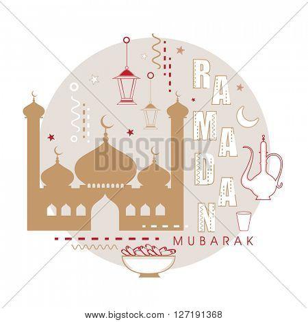 Creative different Islamic elements for Ramadan Mubarak, Flat style illustration concept for Holy Month of Muslim Community Festival celebration.