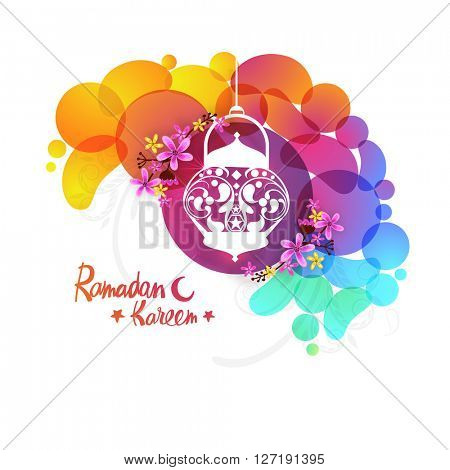Elegant greeting card decorated with hanging lamp, beautiful flowers and colourful abstract design for Islamic Holy Month of Fasting, Ramadan Kareem celebration.