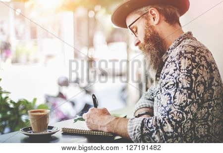 Senior Man Writing Working Coffee Shop Relaxation Concept