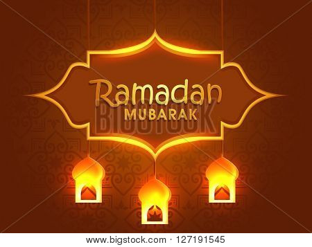 Beautiful greeting card design with glowing hanging Lamps on floral decorated brown background for Islamic Holy Month of Fasting, Ramadan Mubarak celebration.