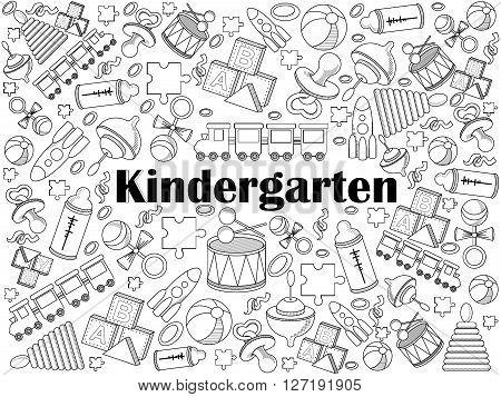 Kindergarten design colorless set vector illustration. Coloring book. Black and white line art