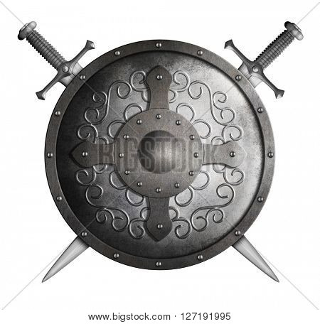 Round shield and two crossed swords isolated 3d illustration