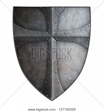 Big medieval crusader's metal shield isolated 3d illustration