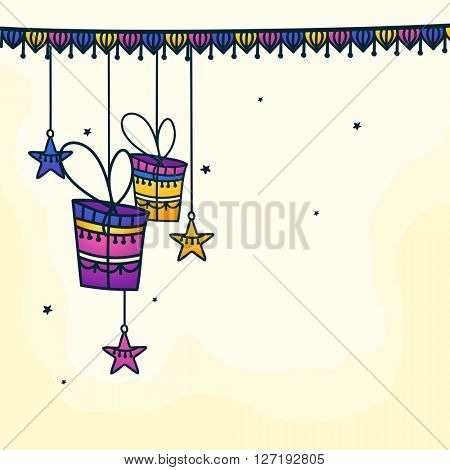 Elegant greeting card design decorated with colourful hanging gifts and stars for Muslim Community Festival, Eid Mubarak celebration.