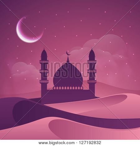 Creative Mosque in desert, Beautiful cloudy night view background. Vector illustration for Islamic Festivals celebration.