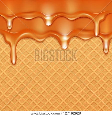 background with waffles and caramel current (glaze)