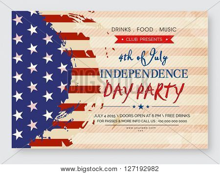 Vintage invitation card design in American Flag color for 4th of July, Independence Day Party celebration.