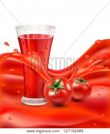 background with a glass of tomato juice, tomato. Red juice splash