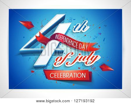Poster, Banner or Flyer design with stylish text 4th of July in American Flag colors on blue background.