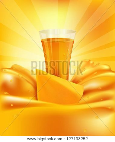 background with mango, a glass of juice, slices of mango(JPEG Version)