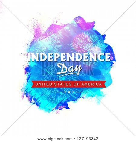 Creative Poster, Banner or Flyer design with fireworks for American Independence Day celebration.