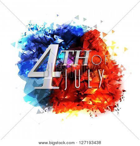 Glossy text 4th of July on creative blue and red abstract design for American Independence Day celebration.
