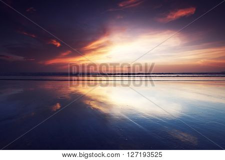 Multi colored sunset in Bali, Indonesia