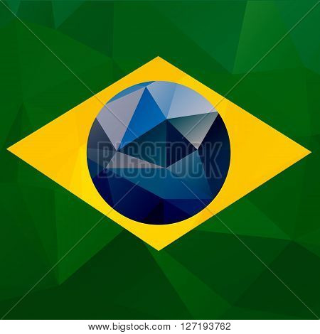 Brazil flag vector geometric background pattern concept with green triangles. Brazil flag concept. Brazil colors