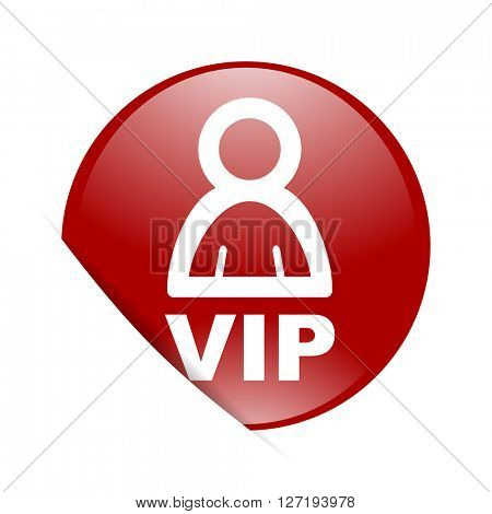 vip red circle glossy web icon