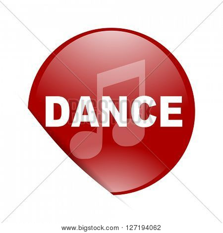 dance music red circle glossy web icon