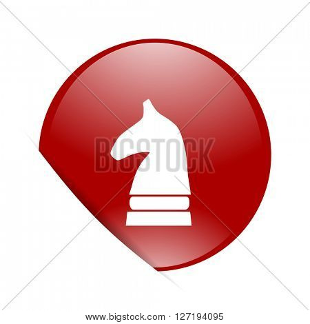 chess horse red circle glossy web icon