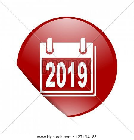 new year 2019 red circle glossy web icon