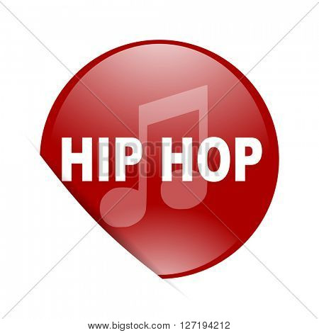 hip hop red circle glossy web icon