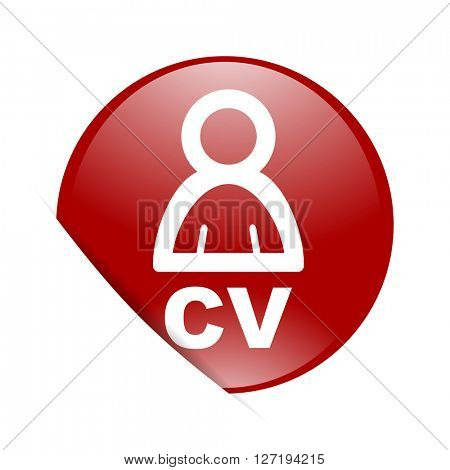 cv red circle glossy web icon