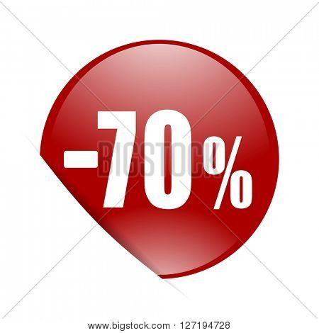 70 percent sale retail red circle glossy web icon