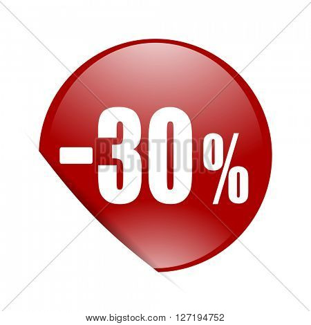 30 percent sale retail red circle glossy web icon