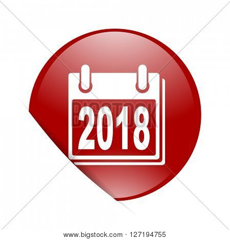 new year 2018 red circle glossy web icon
