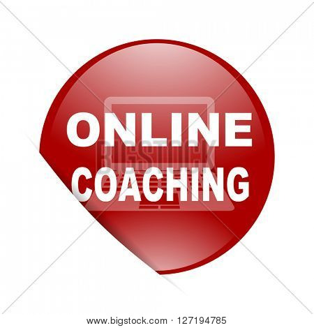 online coaching red circle glossy web icon